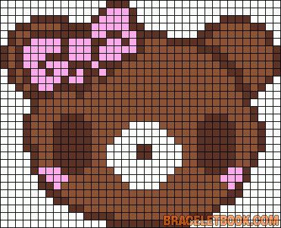 Free Kawaii Bear Hama Perler Bead Pattern or Cross Stitch Chart