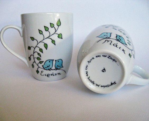 Elephant hand painted white porcelain mug par PaintMyName sur Etsy
