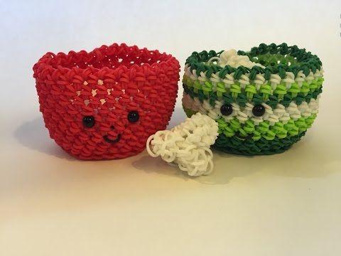 Popcorn Bowl Tutorial Rainbow Loom Kawaii Loomigurumi/Amigurumi Hook Only - YouTube