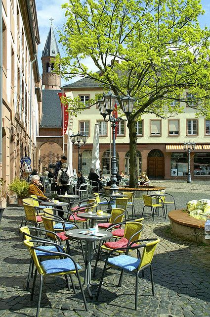 Mainz, Germany. Is there anything lovelier than Europe on a warm spring day?! I want to sit at that cafe and watch the world go by!
