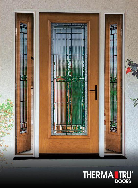 Therma Tru Fiber Classic Oak Collection Fiberglass Door With Saratoga Decorat