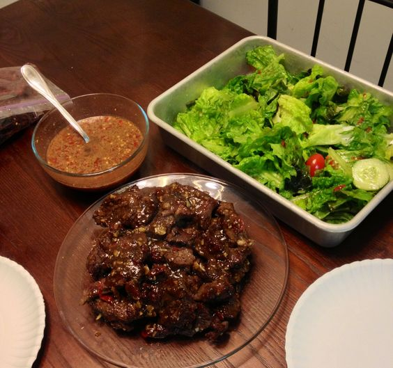 Korean bbq steak and thai style salad and dressing ...
