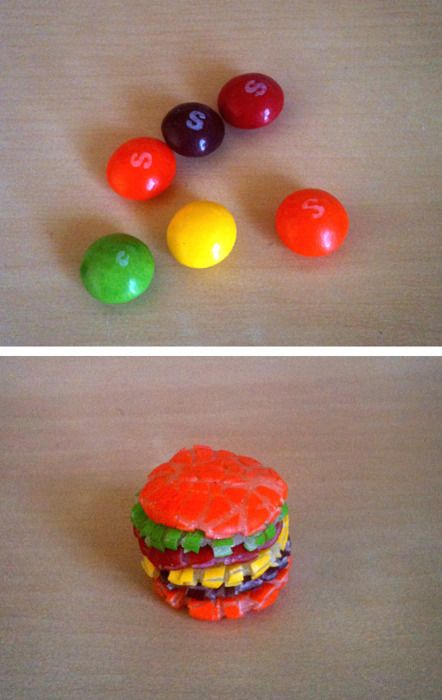 Skittle Burger Recipe    I know everyone's been dying to learn the recipe for skittle burgers, so I thought I'd share the family secret with the rest of the world. 1: Get skittles 2:  Smash em together 3: Eat it or whatever