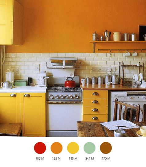 : Orange Kitchen, Paint Colors For Kitchens, Kitchen Colors, Subway Tile, Kitchen Design, Small Kitchen, House Idea, Kitchen Ideas, Yellow Kitchens