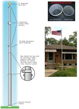 "Telepole 25' Silver Telescoping Flagpole 3.5"""" Superior 2"