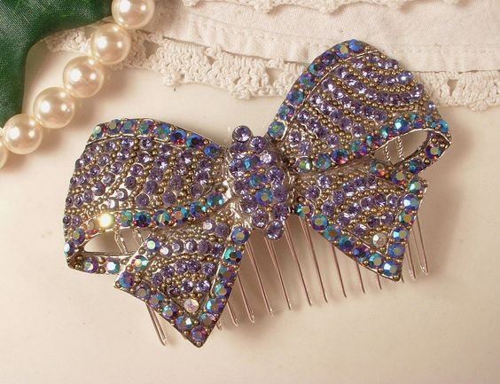 "Art Deco Purple Rhinestone Bridal Bow Hair Comb, TRUE Vintage Heirloom Brooch OOAK Hair Comb by ""AmoreTreasure"" on Etsy"