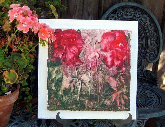 Maison Decor Original cire d'abeille peinture Art par StudioSabine, $75.00