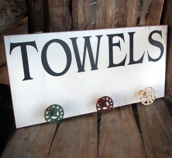 Pool Towel Sign With Hooks: Bathroom Towel Rack Towel Holder Beach Or Pool Towel Rack