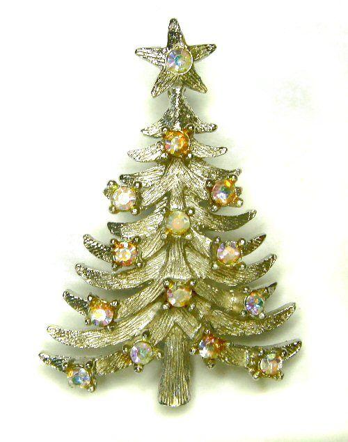 Signed MYLU Silvertone Aurora Borealis Christmas Tree Pin: