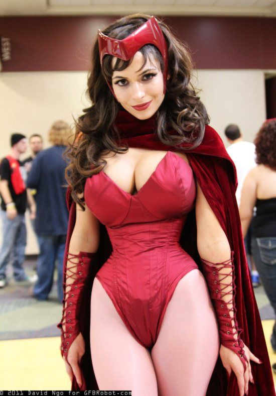 Uncredited Cosplayer with a great version of Scarlet Witch. Anyone know who the model/costumer is?