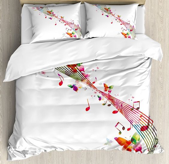 Amazon.com: Music Decor Queen Size Duvet Cover Set by Ambesonne, Colorful Artwork with Music Notes Butterflies Springtime Party Decorative, Decorative 3 Piece Bedding Set with 2 Pillow Shams: Home & Kitchen