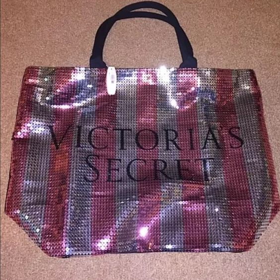 "Victoria's Secret Limited Edition sequin tote Victoria's Secret Limited Edition BLACK FRIDAY 2015 Tote Bag.  The back and straps are plain black, and the front is covered in sparkly Pink and Silver sequins. zipper closure. 21"" x 15"" x 7"". Brand new in original bag with tag attached Victoria's Secret Bags Totes"