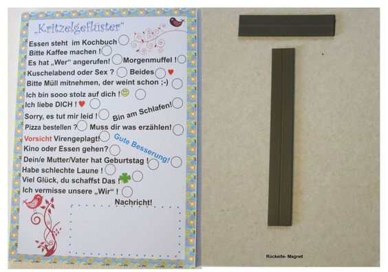 To-Do Block Kritzelgeflüster mit Magnet  von ღKreawusel-Designღ auf DaWanda.com
