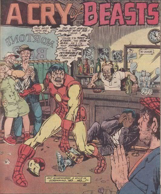 Tony Stark (Iron Man) y sus problemas con el alcohol por Steve Ditko.