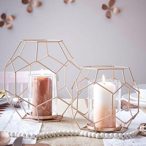 Simple Style Iron Rose Gold Geometric Shape Candle Holder