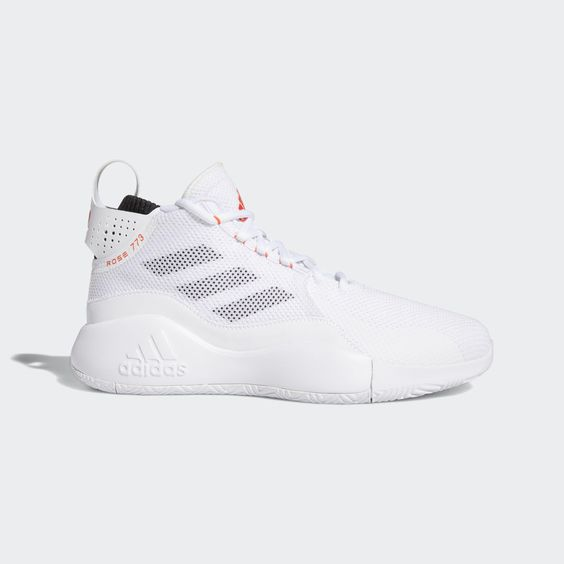 """Derrick Rose's career has taken him all over the world, but he has just one hometown. These adidas shoes have a """"Rose 773"""" graphic on the collar that pays homage to the city that gave us the youngest MVP in basketball history. Lightweight cushioning in the midsole flexes for dynamic cuts to the hoop."""