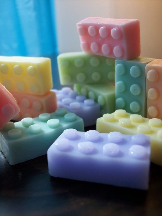 lego soap...how fun would THAT be to get the kids to take a bath?!  (And what would it take to make the molds?):