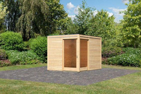 Karibu Gartenhaus Cubus Eck 1 Naturbelassen 610 Kg 5 Jahre Bei Hellweg Karibu Gartenhaus Flachdach Gartenhaus Gartenhaus