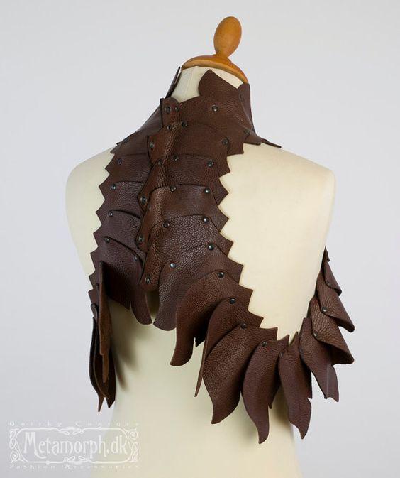 Dragon's spine brown leather vest Sculpturel by MetamorphDK