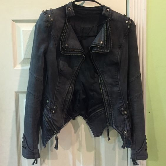 Studded denim jacket Petite fit Jackets & Coats Jean Jackets