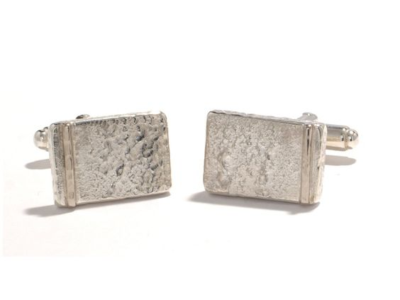 Band of Gold: Cufflinks, silver, whitegold, casted / Manchetknopen, Zilver, witgoud, gegoten