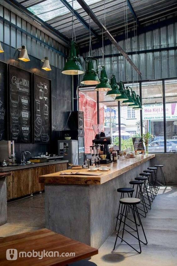 تصميمات ديكورات كافيهات مبتكرة تخطف الانظار Cafe Interior Design Industrial Kitchen Design Coffee Shop Interior Design