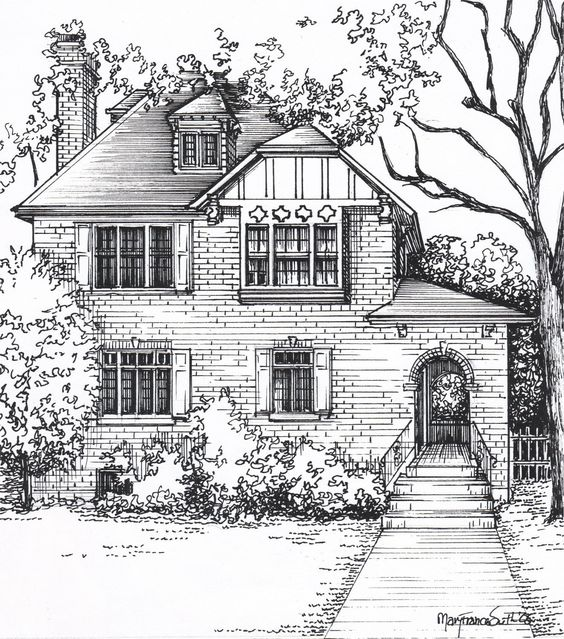 Custom House Sketch hand drawn home portrait in ink | Etsy