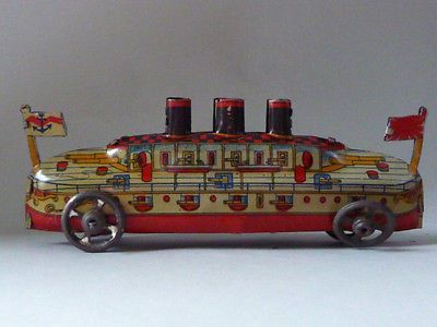 Antique Late 1920's Japanese Lithograph Tin Toy Battle SHIP with Wheels