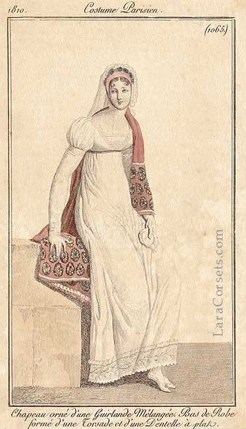 24-10-11  white regency dress, 1810, French
