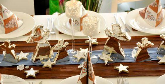 Tischdeko weihnachten gold braun  Tischdeko Weihnachten Braun/Blau mit Engeln   Tischdeko ...