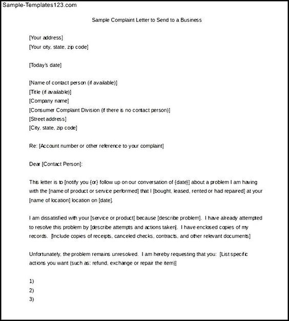 Sample Complaint Letter Send Business Download Free Template