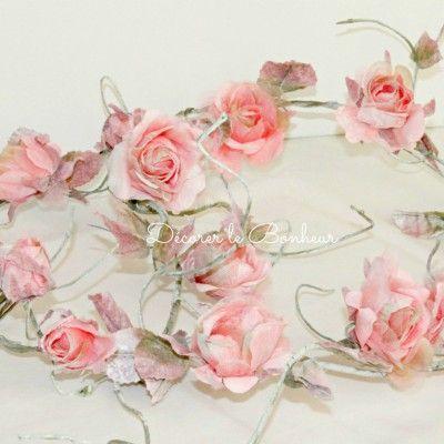 Guirlande rose anglaise - Déco exterieure (buissons, arbre..)