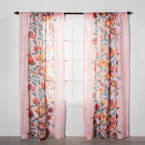 Floral Daisy Light Filtering Curtain Panels Pink Opalhouse