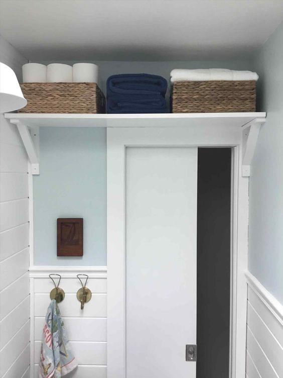 shelf over door for more bathroom storage