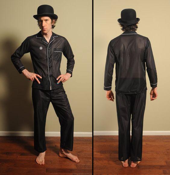 vintage 60s mens pajamas black mesh summer by CarnivalOfTheManiac