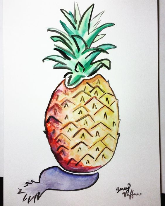 THURSDAY. You're the pineapple of my eye  #day46 #365daysofart (12x18 XL watercolor) by jh_designs