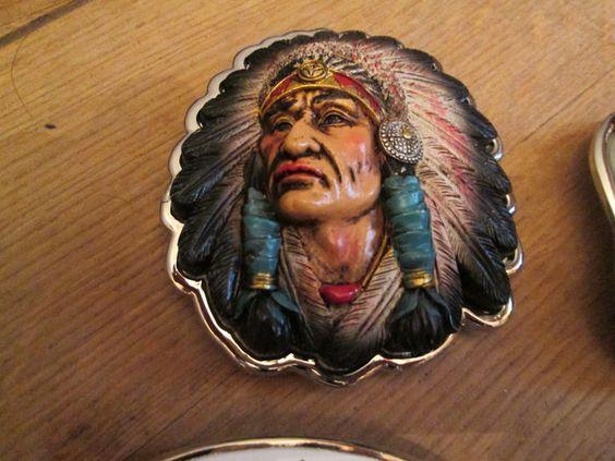 Collectie van 9x  belt buckle riemgespen Usa-Indianen/Eagle