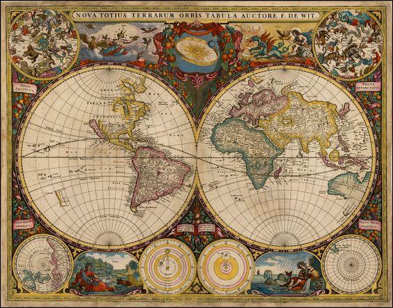 1660 nova totius terrarum orbis tabula by frederick de wit for Caldera mural orbis