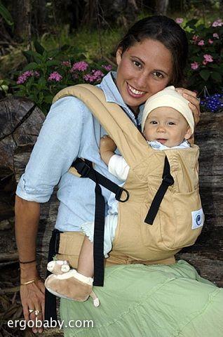 Mochila portabebés Ergo Baby Carrier beige, delante