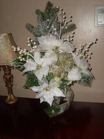 Elegant Christmas Poinsettias Silk Flower Arrangement