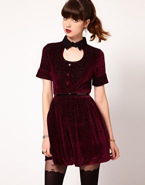Maroon velvet dress: