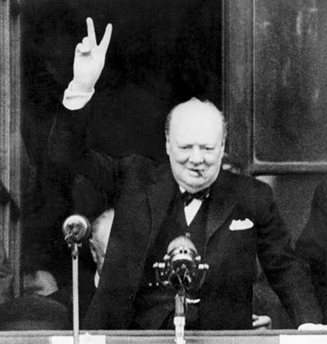 Image result for churchill giving v sign non copyright