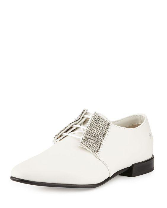 Embellished Leather Oxford, White