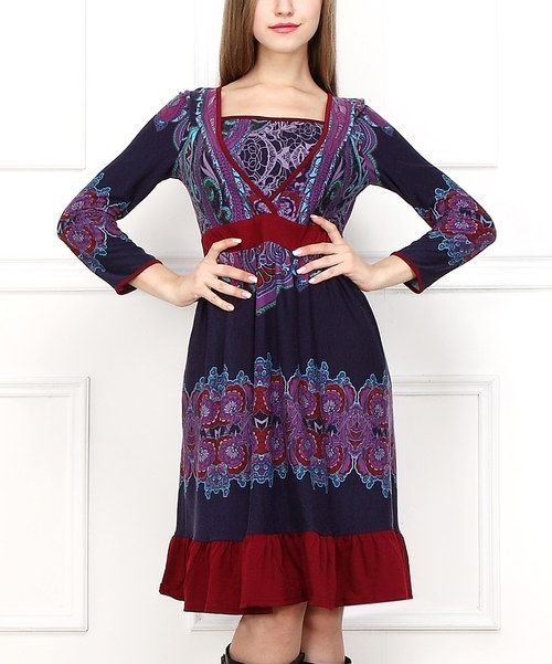 Purple & Burgundy Floral Surplice Dress   zulily