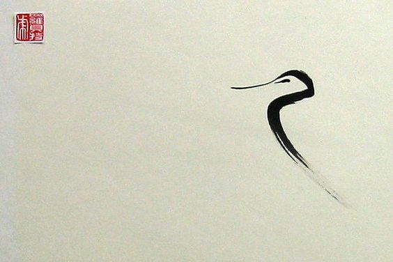 sumi-e blue heron by Anna snorrepot sumie