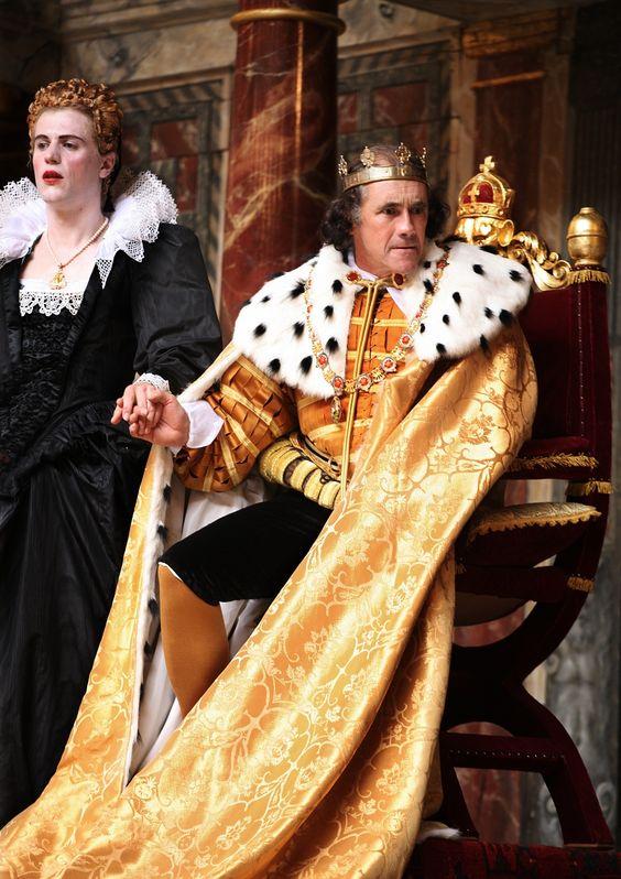 Richard III directed by Tim Carroll,  Johnny Flynn as Lady Anne, Mark Rylance as Richard III (C) Simon Annand     http://www.shakespearesglobe.com/theatre/on-stage/richard-iii-2012