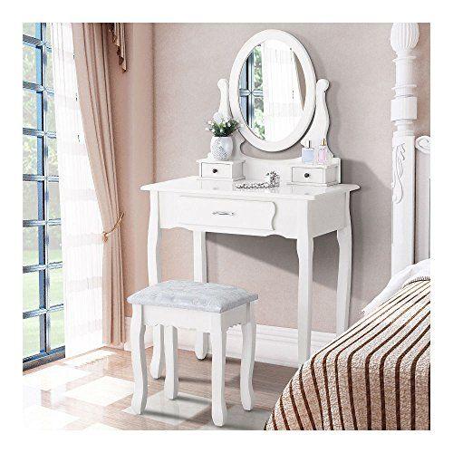 White Dressing Table Stool Bedroom Vanity Set Makeup Desk with Mirror /& Drawer