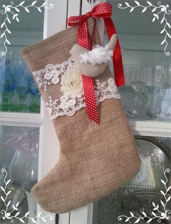 Ny Julstrumpa, jul, jute, spets, shabby chic, lantligt, ros, fågel, polkadot