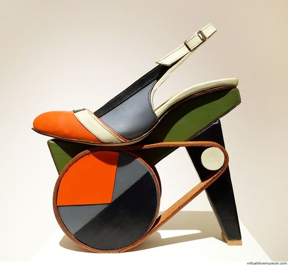 Hand-painted platforms, 2015. Material: vegetable tanned leather, leather and pressed board mid-sole, hand-shaped wood platforms, nails and natural glue. © Chris Francis, photo by Noel Bass