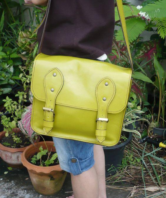 Unisex Leather Cross Body Bag, Shoulder Bag, Leather Bag Satchel. $69.00, via Etsy.